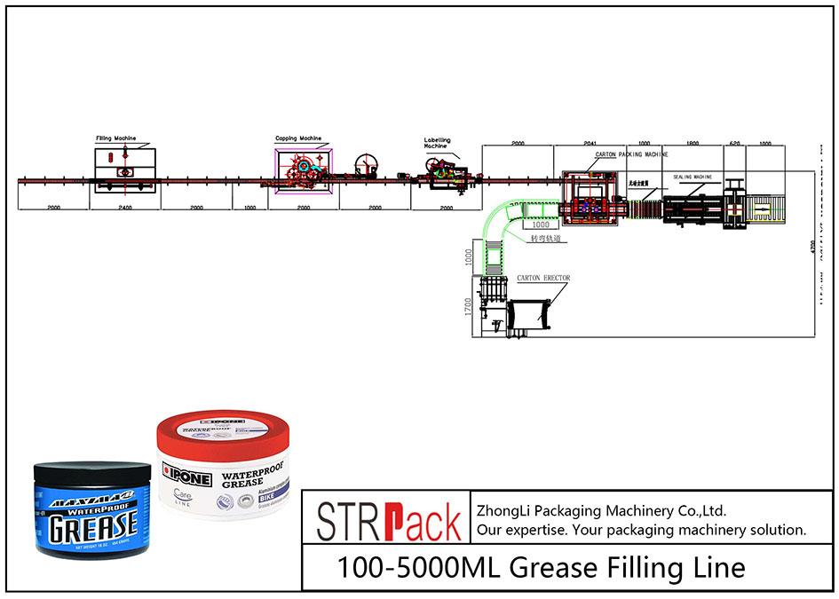 Línea automática de llenado de grasa 100ML-5L
