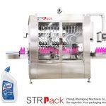 Máquina de llenado de líquidos para botellas con cuello en ángulo