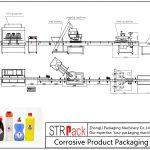 Línea automática de envasado de productos corrosivos