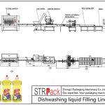 Línea automática de llenado de líquidos para lavar platos
