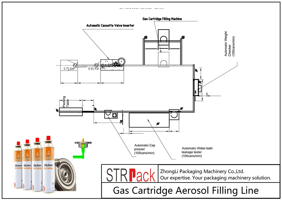Línea automática de llenado de aerosoles para cartuchos de gas