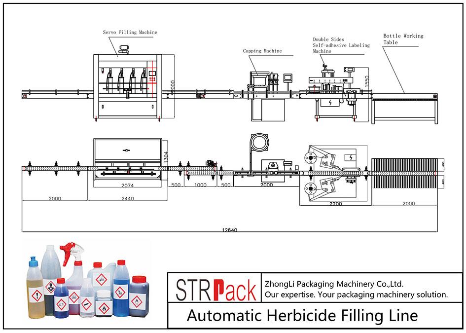 Línea automática de llenado de herbicidas