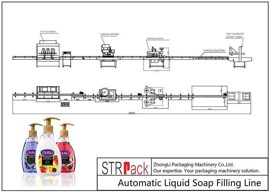 Línea automática de llenado de jabón líquido