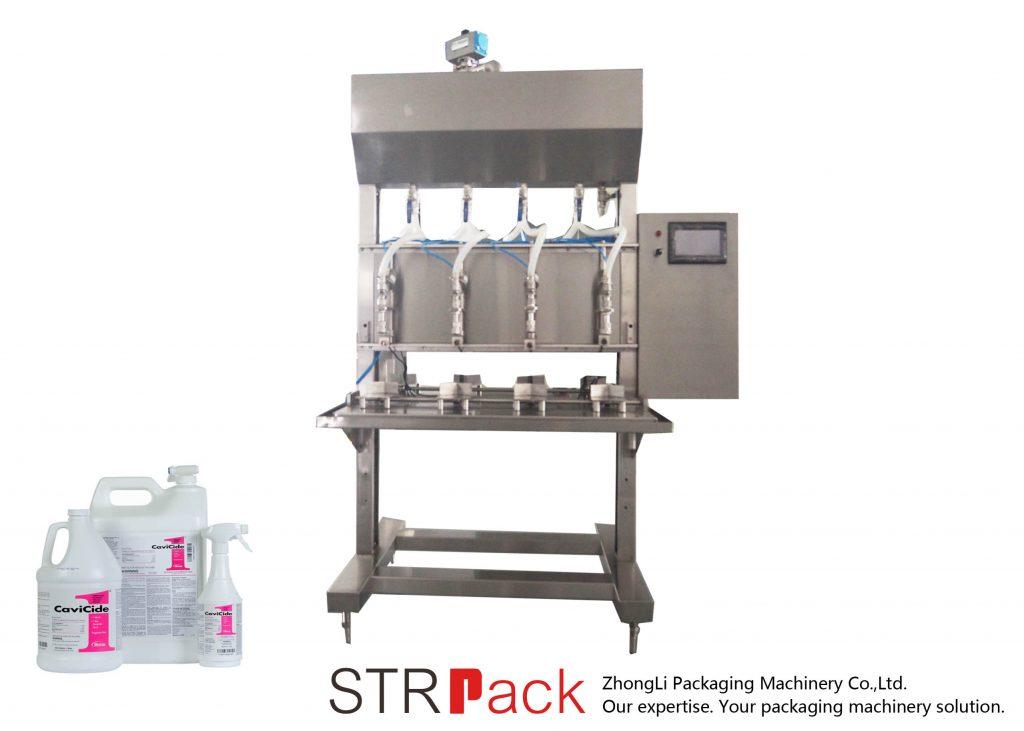 Máquina semiautomática de llenado de líquidos por gravedad por tiempo
